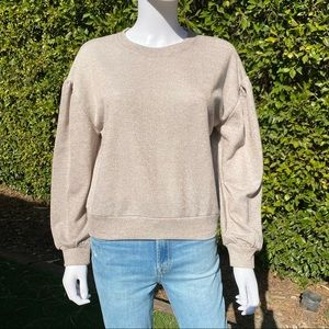 CUPCAKES AND CASHMERE Grey&Gold Sparkle Sweatshirt
